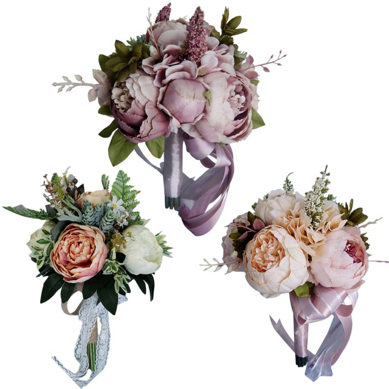 European Vintage Bridal Wedding Bouquet Artificial Dusty Peony Flowers Fake Succulent Plant Lace Ribbon Bridesmaid Party Decor