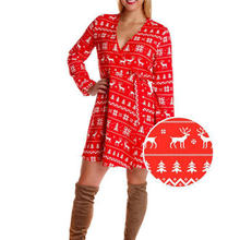 Новое поступление рождественское женское платье длинный рукав