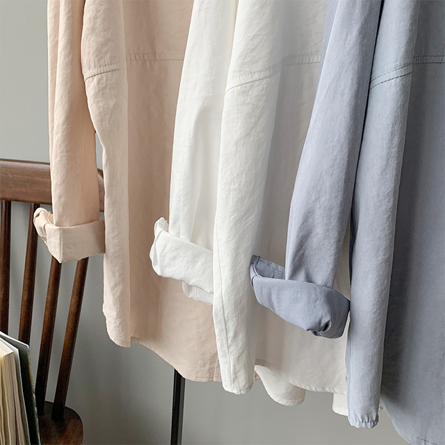 BGTEEVER Minimalist Loose White Shirts for Women Turn-down Collar Solid Female Shirts Tops 2020 Spring Summer Blouses 6