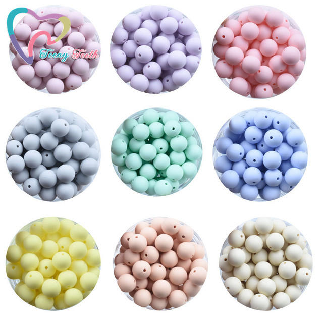 Teeny Teeth 100 PCS 45 Colors 12 15 MM Silicone Baby Teether Round Beads BPA Free Chewable Silicone Beads DIY Teething Toys