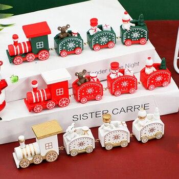 Adorno de tren de Navidad de madera decoración navideña para el hogar,...