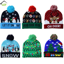 Christmas-Hat Party-Warmer-Cap New-Year-Decorations Kids LED for Adult Sweater Knitted
