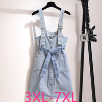 2019 autumn winter plus size strap dress for women large sleeveless loose casual denim sling short dresses blue 4XL 5XL 6XL 7XL