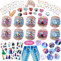 60pcs Frozen Party Favors For Kids Birthday With Frozen Love Bracelet/Rings 3D Bubble Stickers Baby Shower Gifts Bags Christmas