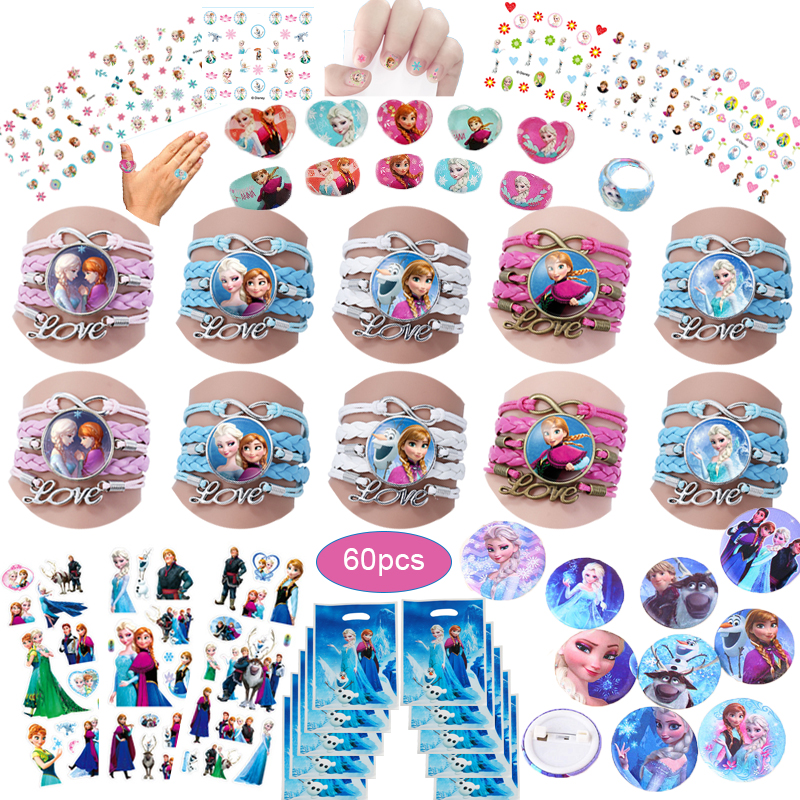60pcs Frozen Party Favors For Kids Birthday With Frozen Love Bracelet/Rings 3D Disney Bubble Stickers Baby Shower Gifts Bags Christmas-in Party Favors from Home & Garden