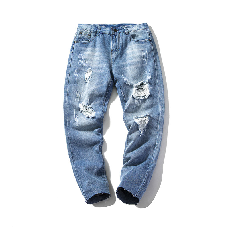 Shredded Jeans Stretch Slim Fashion Washed Solid Color Casual Denim Trousers Streetwear Hip Hop Skinny Jeans Pants Man Clothes