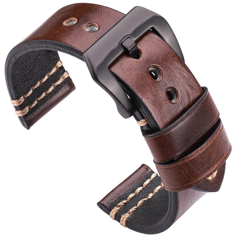 Watchbands Genuine Leather Watch Band Strap 20mm 22mm 24mm Black Brown Blue Yellow Women Men Cowhide Bracelet Watch Accessories
