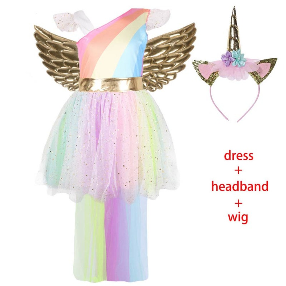 Girls Unicorn Princess Dresses Halloween Costumes for Kids Elegant Mesh Dress with Gold Headband Wing Carnival Party Clothing