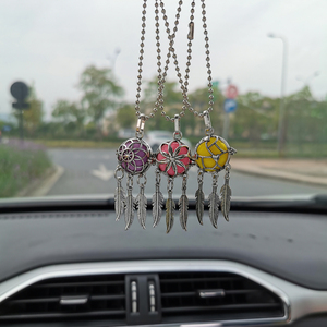 New Aromatherapy Car Perfume Diffuser Pendant Dreamcatcher Feather Lockets Pendant Car Air Freshener Diffuser Necklace Jewelry(China)