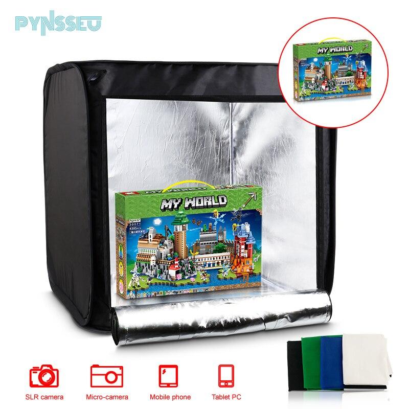 Caixa de Luz Studio com Dupla Luzes para Fotografar Kit de Equipamentos de Fotografia Pynsseu Backdrops Mini Folding Photo Tira Led 4 40cm