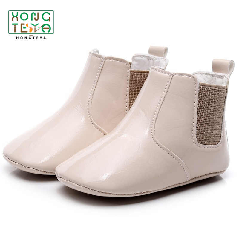 Dropshipping Baby Girl High Upper Boots 6 Colours Newborn PU Leather Glossy Prewalker Toddler Shoes Soft Non-slip Sole Booties