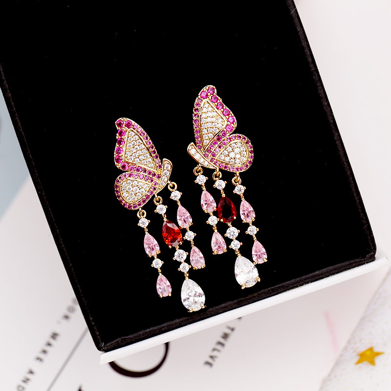 Beilan 2020 New High Quality Butterfly Tassel Earrings For Women Fashion Colorful Cubic Zircon Rhinestone Drop Earring YEA331