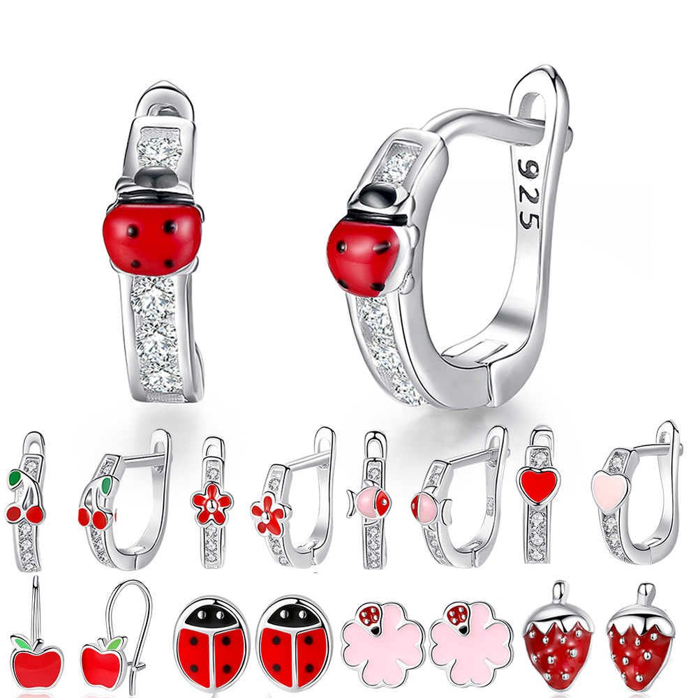 2019 Fashion Jewelry Christmas Stud Earrings Animal Ladybug Clover Heart 925 Sterling Silver Small Earrings for Women Kids Girls