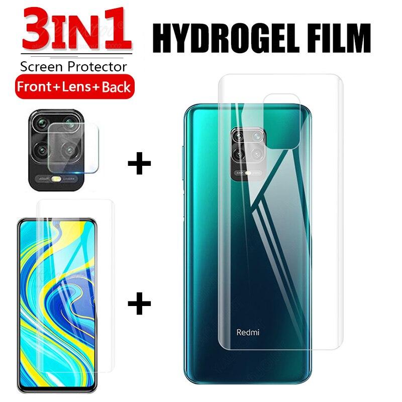 Мягкая Гидрогелевая пленка 3 в 1 для xiaomi Redmi Note 9s 9 s Pro max, передняя + задняя + линза, полноэкранная защита для xiomi Redmy note9s