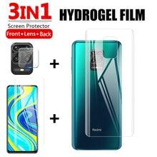 3in1 filme de hidrogel macio para xiaomi redmi nota 9s 9s pro max frente + traseira + lente protetor de capa de tela cheia em xiomi redmy note9s