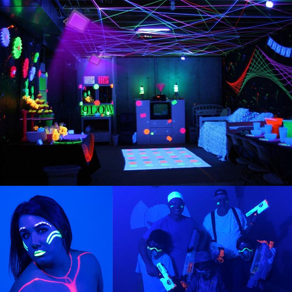 Image 4 - Protect Eyes 110V 220V LED UV Black Light Party Dark Aquarium Body Paint Fluorescent Poster Neon Glow Halloween Ultraviolet Lamp-in Ultraviolet Lamps from Lights & Lighting