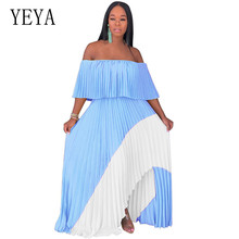 YEYA Strapless Pleated Chiffon Maxi Summer Dress Women Ruffled Off Shoulder Long Party Casual Bohemian Beach Dresses