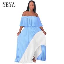 YEYA Strapless Pleated Chiffon Maxi Summer Dress Women Ruffled Off Shoulder Long Party Casual Bohemian Beach Dresses