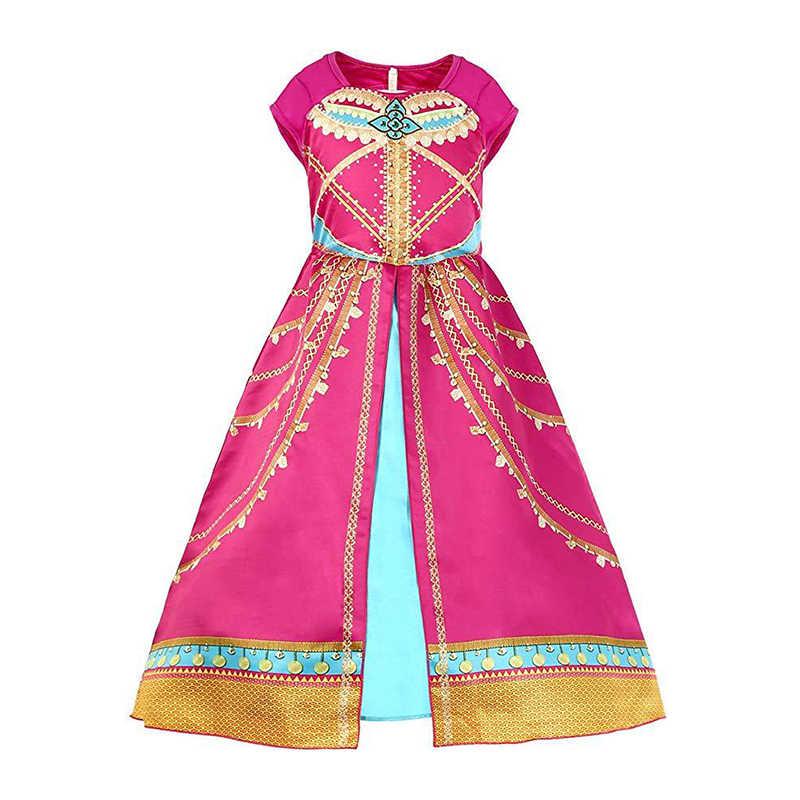 Aladdin 'S Lamp Jasmine Cosplay Kostuum Voor Meisjes Kinderen Jurk Jasmijn Prinses Meisje Jurk Rol Kostuum Prestaties Kostuum