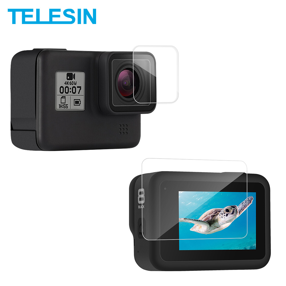 TEELSIN 2Pcs HD Tempered Glass Screen + Lens Protector Film 2.5D Ultrathin Full Coverage For GoPro Hero 8 Camera Accessories