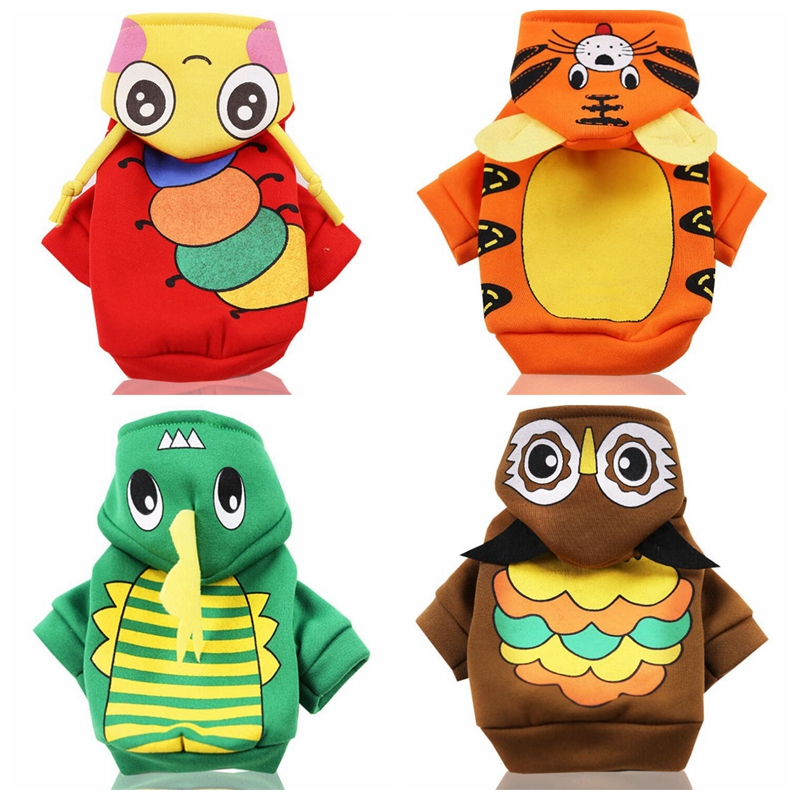 Fun Pet Dog Cat Clothes Fashion Cartoon Puppy Warm Coat Autumn And Winter Cosplay Soft Hoodie