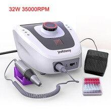 Pro 32 Вт 35000 об/мин Электрическая дрель для ногтей Алмазная пилка для ногтей дрель машина для маникюра и педикюра сверло для полировки инструменты