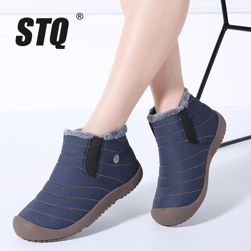 STQ 2019 Winter women snow boots ankle boots women slip on waterproof rubber boots warm fur plush rain boots winter shoes 6811-in Ankle Boots from Shoes