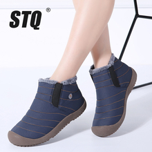 STQ 2020 الشتاء النساء أحذية الثلوج حذاء من الجلد النساء الانزلاق على مطاط مقاوم للمياه الأحذية الدافئة الفراء أفخم احذية المطر أحذية الشتاء 6811