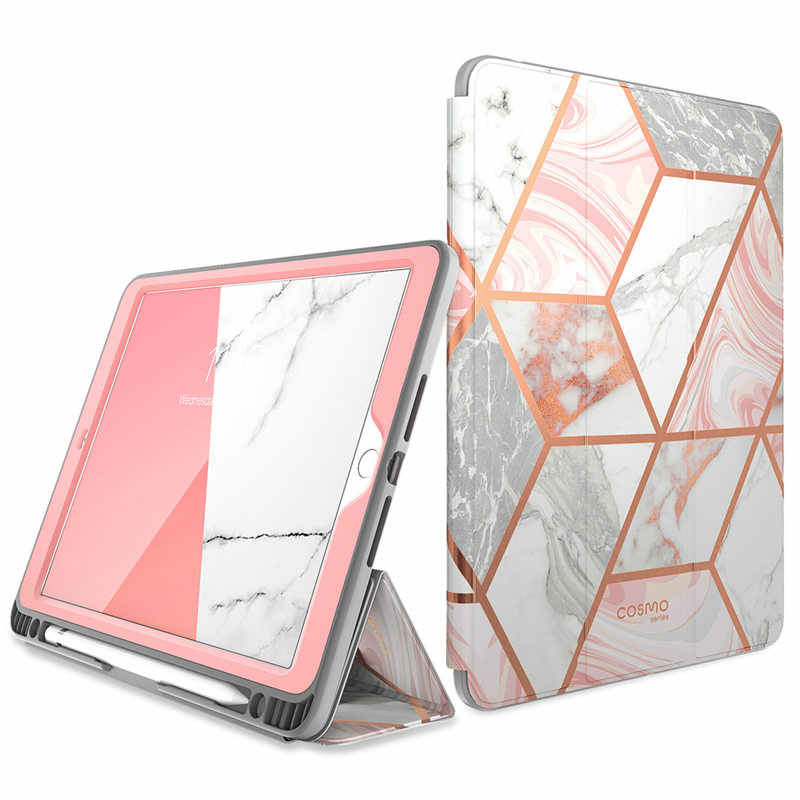 For iPad 10.2 Case (2019) i-Blason Cosmo Trifold Stand Smart Case with Auto Sleep/Wake & Pencil Holder,Built-in Screen Protector