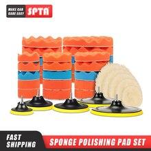 SPTA 8Pcs 버퍼 패드 세트 5/6/7 인치 자동차 자동차 연마 패드 키트 자동차 폴리 셔 + 드릴 어댑터 M14 전동 공구 액세서리