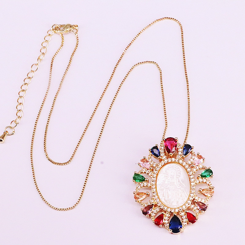 3Pcs Fashion Rainbow Pendant Colorful Zirconia CZ Micro Pave Elegant Jesus / Virgin of Mary Shell Gold Filled Necklaces