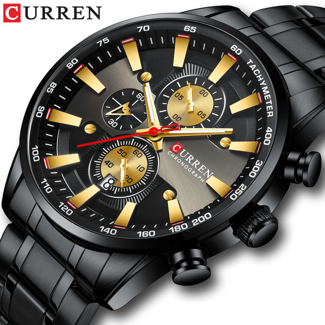 Curren preto relógio de ouro para homens moda quartzo esportes relógio de pulso cronógrafo data relógios aço inoxidável masculino relógio