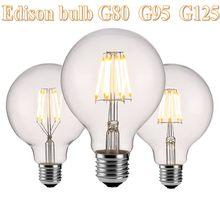 Edison led filamento lâmpada g80 g95 g125 grande global lâmpada 6w 10 15 filamento e27 lâmpada interior de vidro claro ac220v