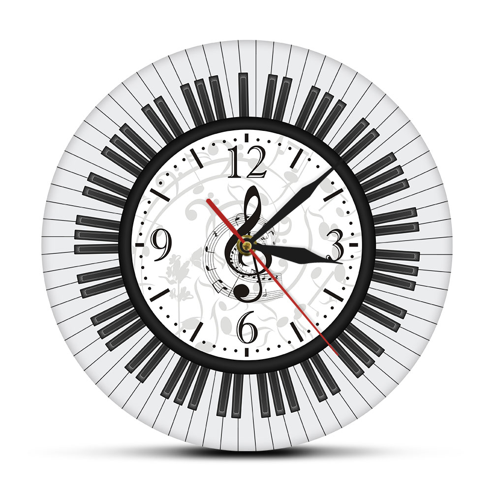 Piano Keyboard Treble Clef Wall Art Modern Wall Clock Musical Notes Black and White Wall Watch Music Studio Decor Pianist Gift