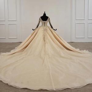 Image 2 - HTL1235 2020 งานแต่งงาน Boho แขนยาวภาพลวงตา V คอเลื่อมลูกปัดลูกไม้ UP sparkly งานแต่งงาน Robe de mariée bohème