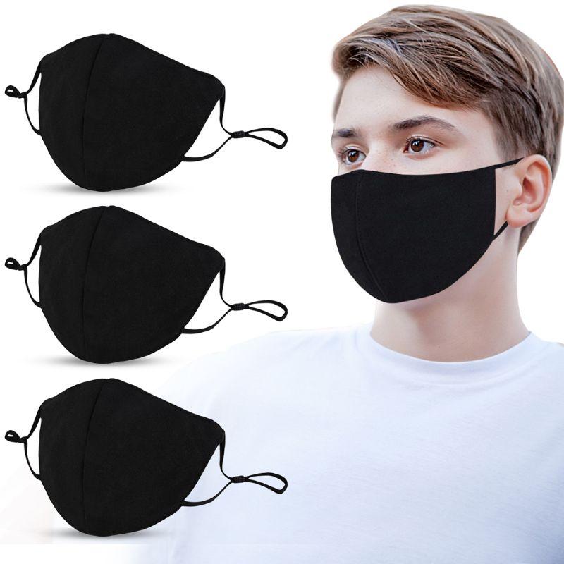 Máscara de Boca Ajustável à Prova de Poeira Máscara de Boca de Algodão Faciais ao ar Adulto Preta Algodão Lavável Reutilizável Máscaras Livre 10 Pçs de