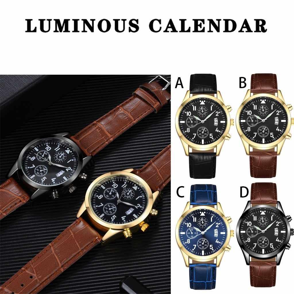 גברים של מקרית ספורט שעונים חגורת לוח זוהר שעון חום חגורת זהב קצה שחור פנים גבר שעון אופנה הכרונוגרף שעוני יד