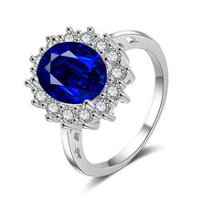Jewelry Copper Zircon Engagement Accessories Blue 925 Sapphire Women(China)