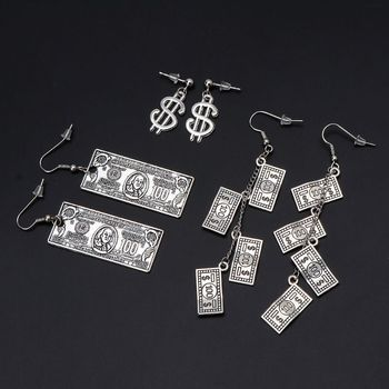 Antique Sliver 100 Dollar Bill Money Currency Pattern Dangle Earrings For Women image