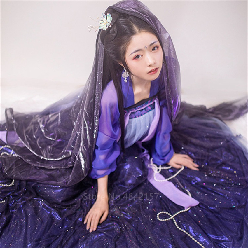 Chinese Style Clothing Female New Year Folk Dance <font><b>Festival</b></font> <font><b>Outfit</b></font> Hanfu <font><b>Women</b></font> Stage Performance Ancient Costumes Fairy dress image