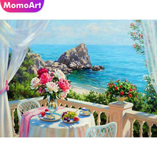 MomoArt Diamond Painting Sea View Room Embroidery Landscape Mosaic Full Square Drill Home Decoration Accessories
