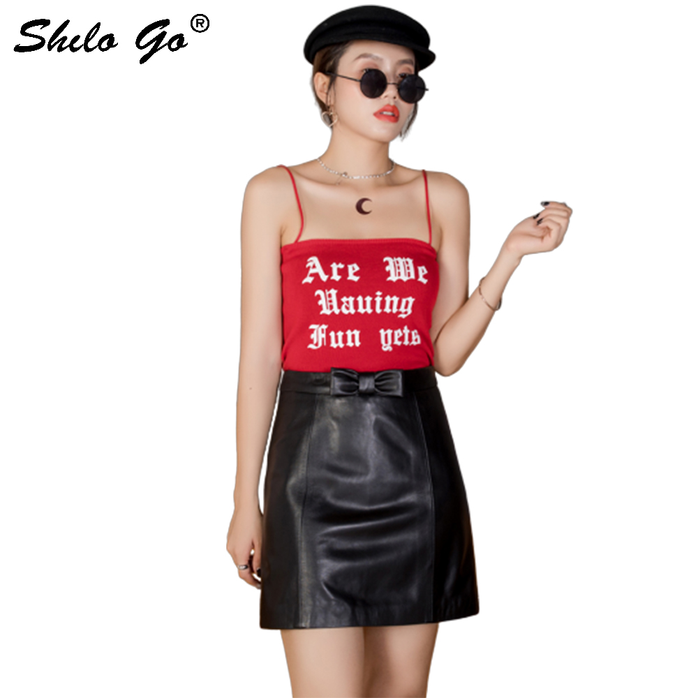 Genuine Leather Skirts Elegant Bow Front Detail High Waist Sheepskin A Line Skirt Women Casual Office Lady Pencil Skirt Female