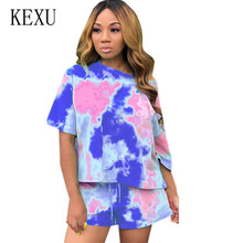 KEXU Casual Vintage Ptint Two Pieces Sets Short Sleeve O-neck Playsuits Summer Overalls Female Jumpsuits Plus Size XXL Mujer
