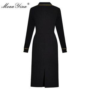 Image 2 - MoaaYina Fashion Designer Runway dress Spring Summer Women Dress Long sleeve luxurious Gold Line Embroidery Black Dresses