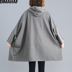 Image 5 - DIMANAF Oversize Women Jacket Coat Autumn Winter Outerwear Zipper Cardigan Vintage Batwing Sleeve Loose Plus Size Hooded Clothes