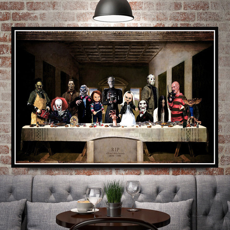 Hot Freddy Jason Chucky Halloween Horror Movie Character The Last Supper Art Painting Poster Prints Wall Picture Room Home Decor