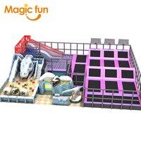 MAGICFUN EU Standard Attractive Multi functional Indoor Trampoline Park With Soft Playground