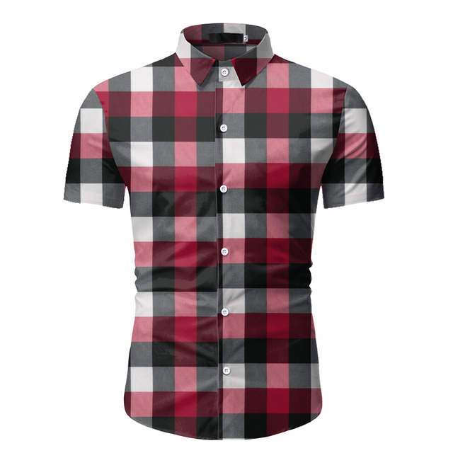 Red Plaid Shirt Men 2020 Summer Brand Classic Short Sleeve Dress Shirt Casual Button Down Office Workwear Chemise Homme M-3XL 3