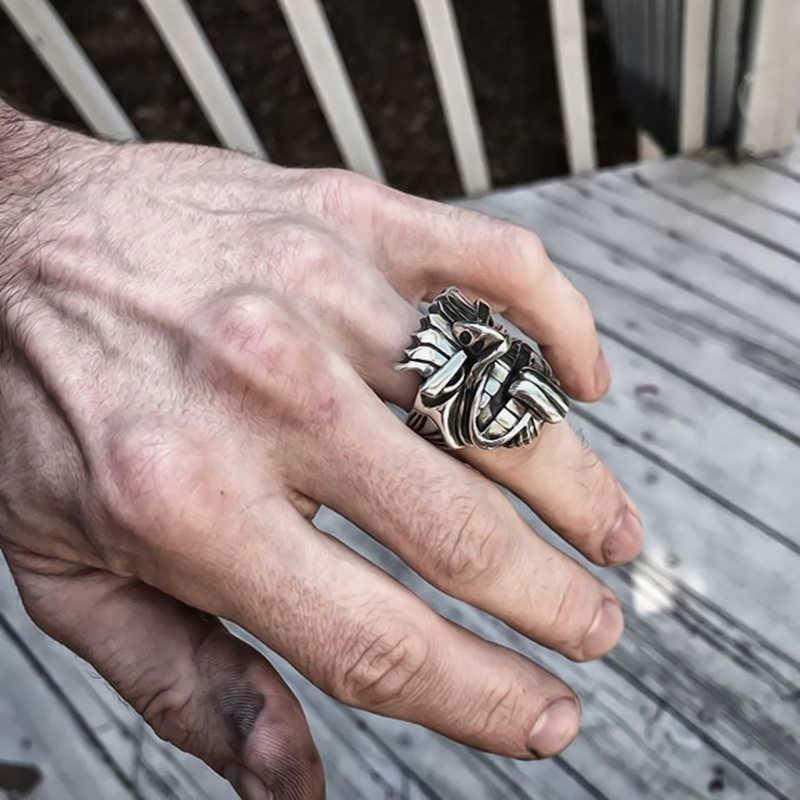 EYHIMD Māori mitologia srebrny ze stali nierdzewnej Tiki Totem pierścienie męskie Tribal unikalny Biker biżuteria amulet