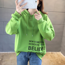 Womens Korean Long Sleeve Print Letter Hoodie Sweatshirt Solid Hooded Drawstring Pullover Tops Women's Fashion Sweatshirt